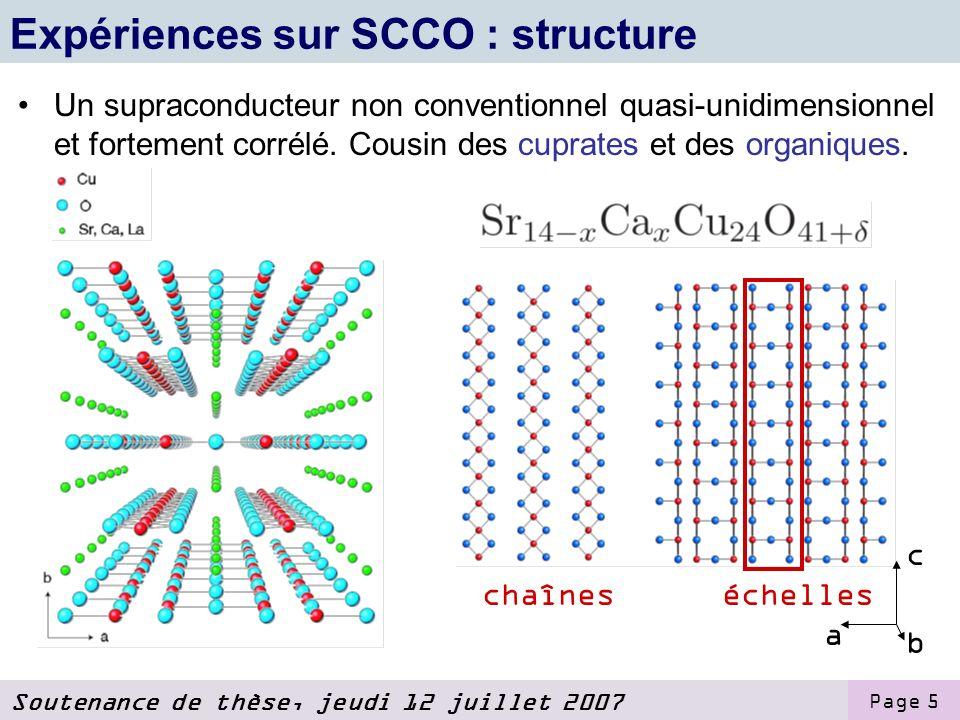 Expériences sur SCCO : structure