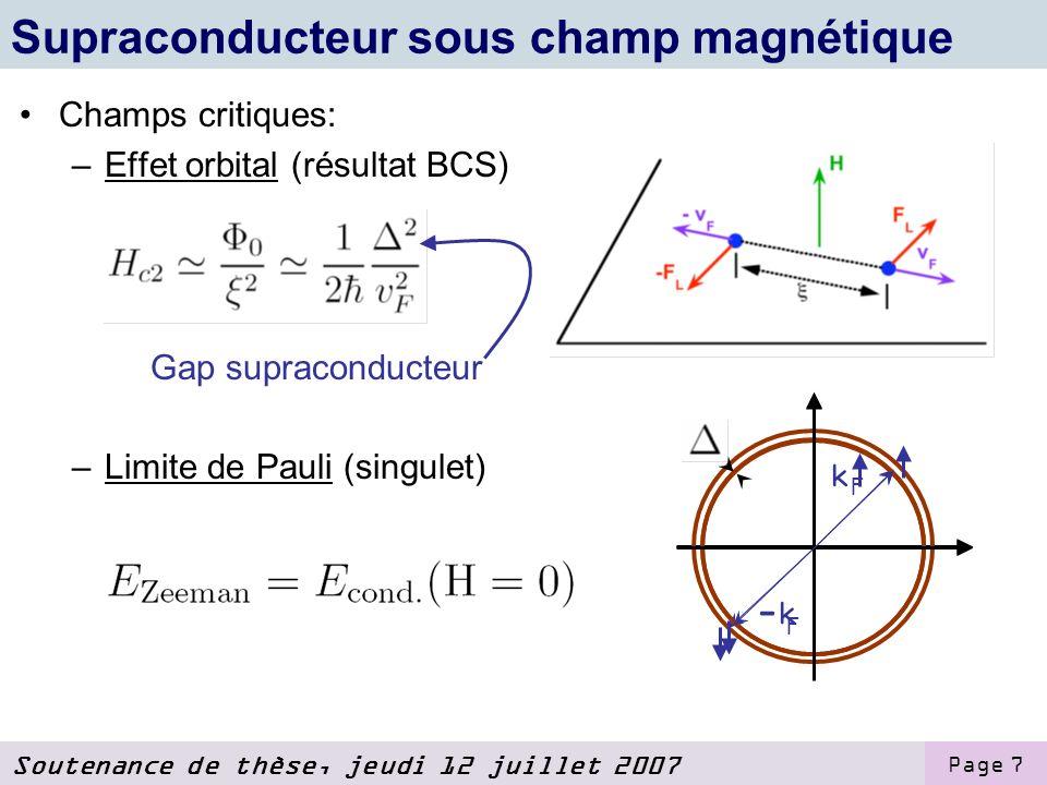 Supraconducteur sous champ magnétique