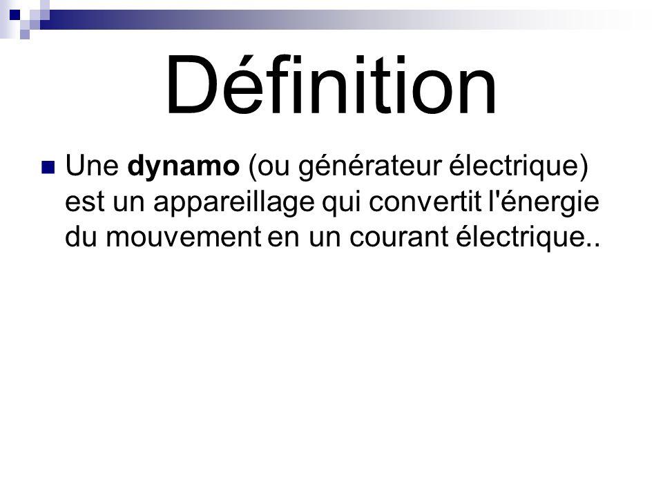 Définition Une dynamo (ou générateur électrique) est un appareillage qui convertit l énergie du mouvement en un courant électrique..