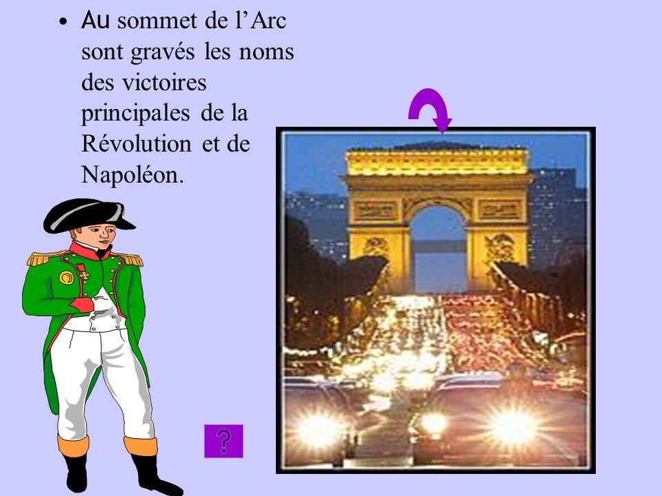 Au sommet de l'Arc sont gravés les noms des victoires principales de la Révolution et de Napoléon.