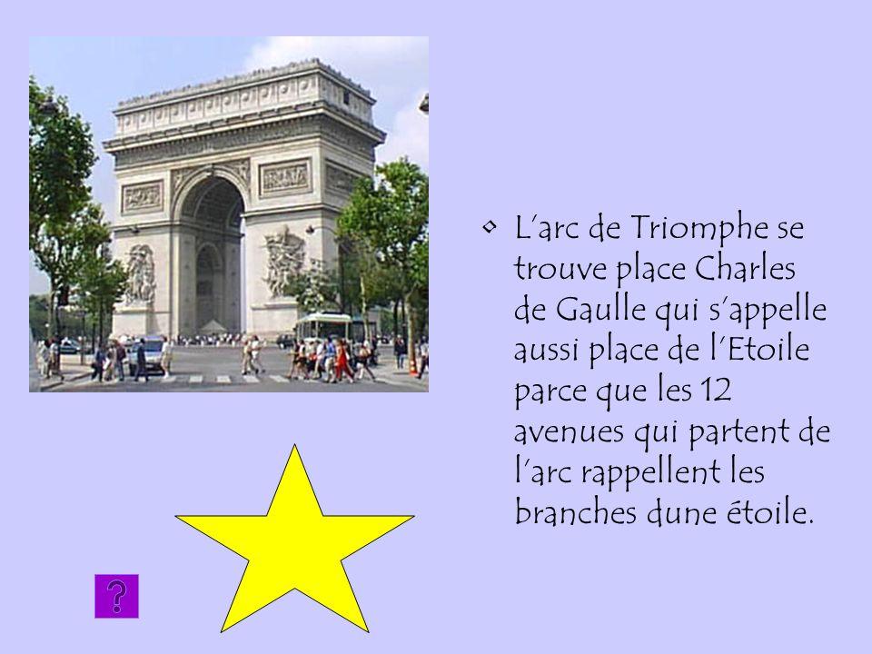 L'arc de Triomphe se trouve place Charles de Gaulle qui s'appelle aussi place de l'Etoile parce que les 12 avenues qui partent de l'arc rappellent les branches dune étoile.