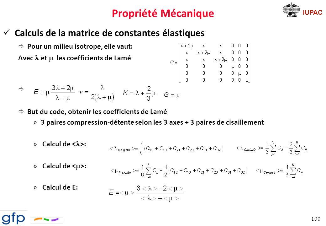 Propriété Mécanique Calculs de la matrice de constantes élastiques