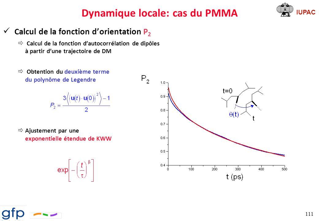 Dynamique locale: cas du PMMA