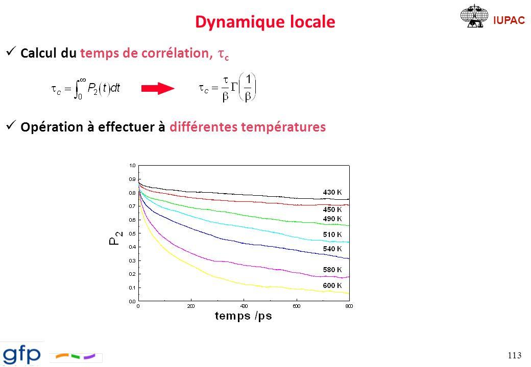 Dynamique locale Calcul du temps de corrélation, tc