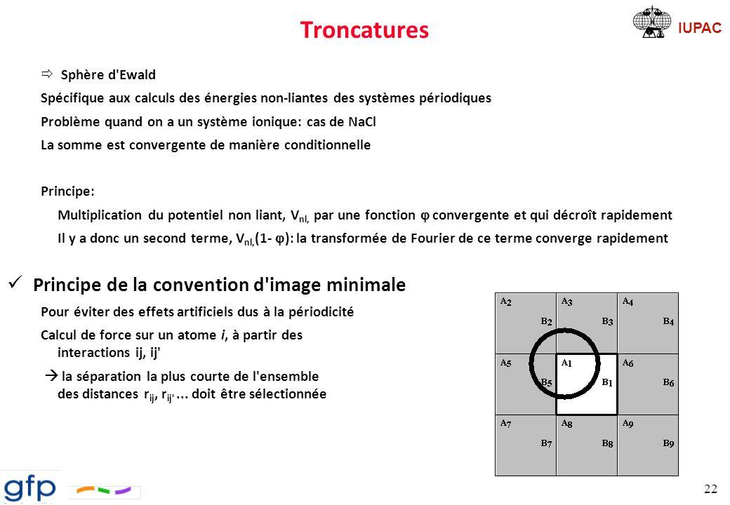 Troncatures Principe de la convention d image minimale Sphère d Ewald