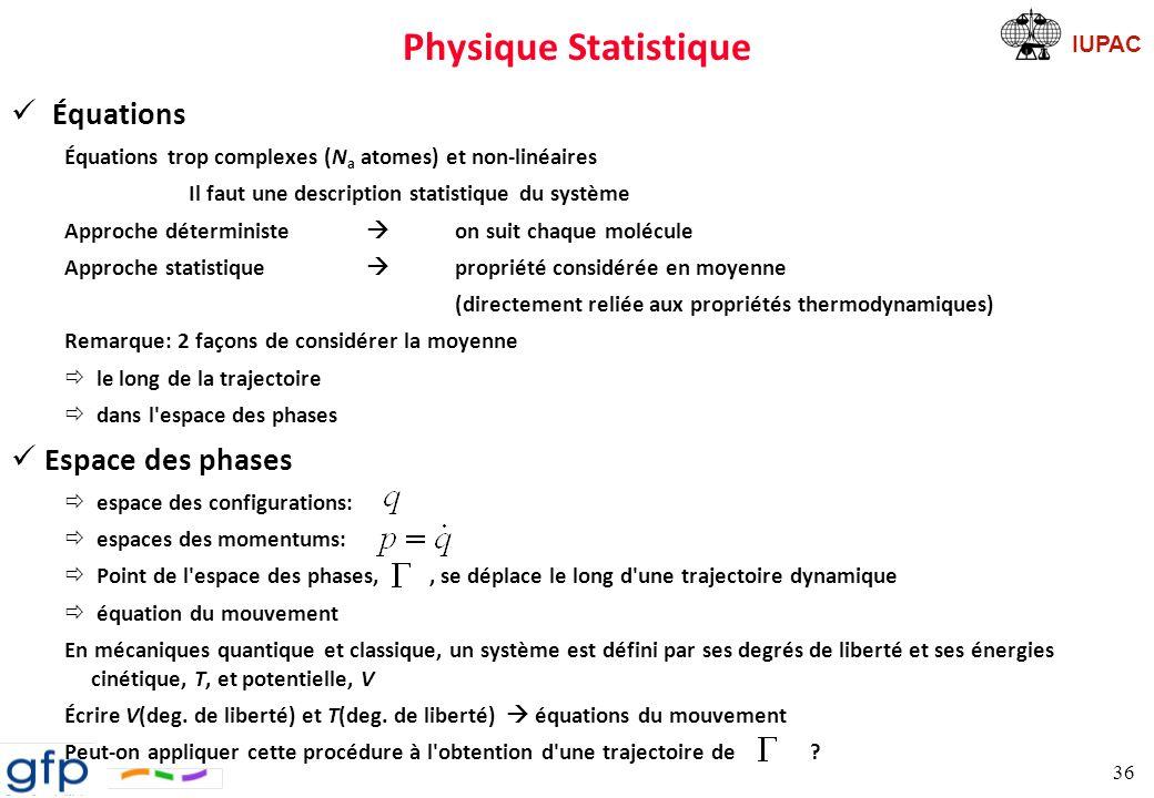 Physique Statistique Équations Espace des phases