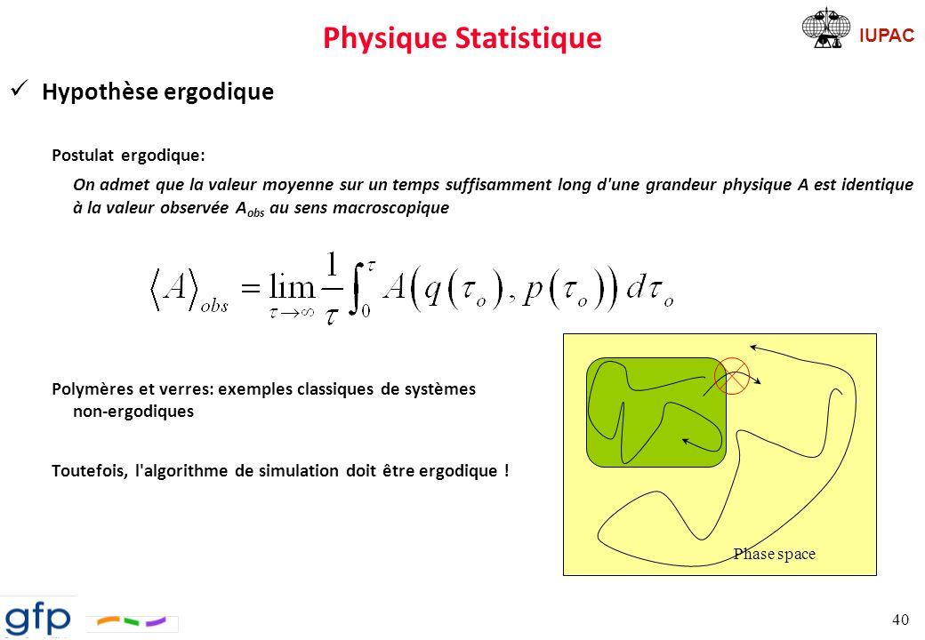 Physique Statistique Hypothèse ergodique Postulat ergodique: