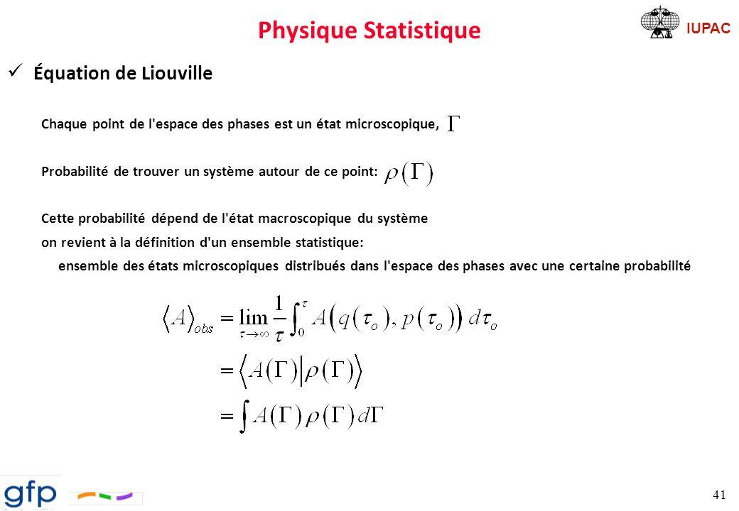 Physique Statistique Équation de Liouville