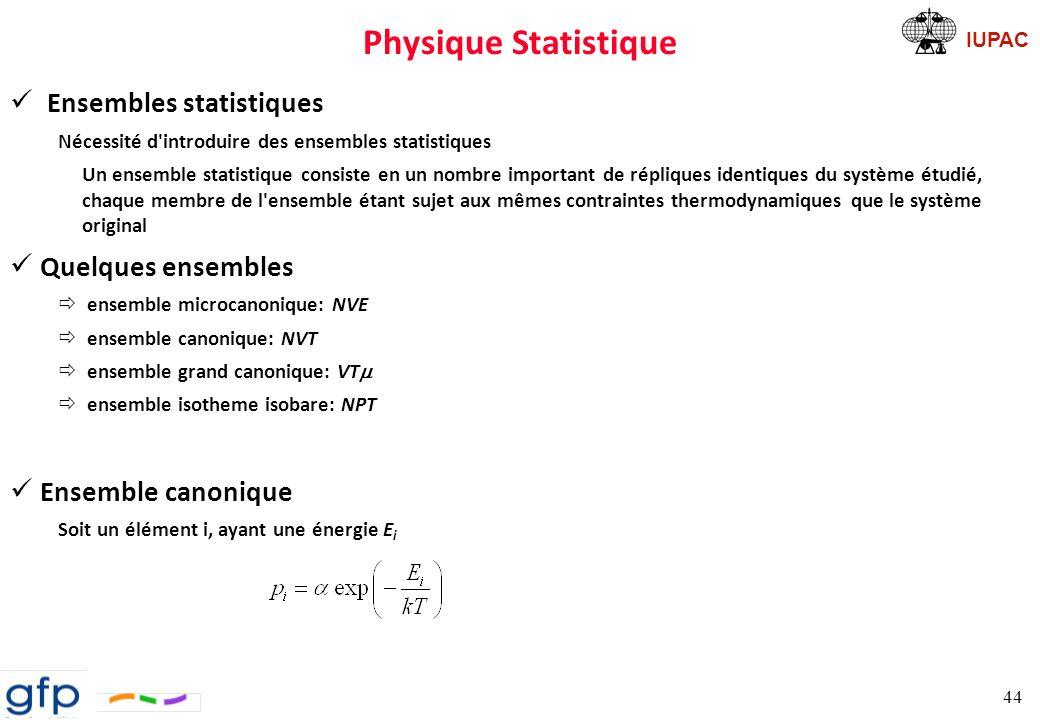 Physique Statistique Ensembles statistiques Quelques ensembles
