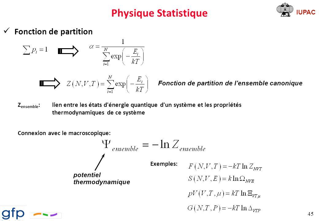 Physique Statistique Fonction de partition