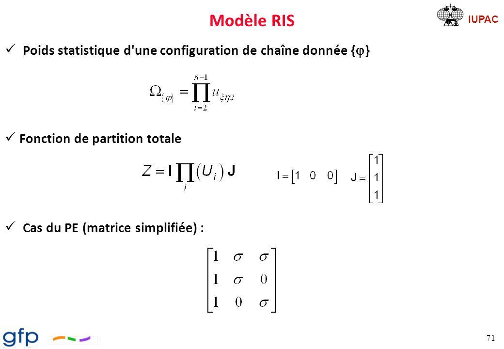 Modèle RIS Poids statistique d une configuration de chaîne donnée {j}