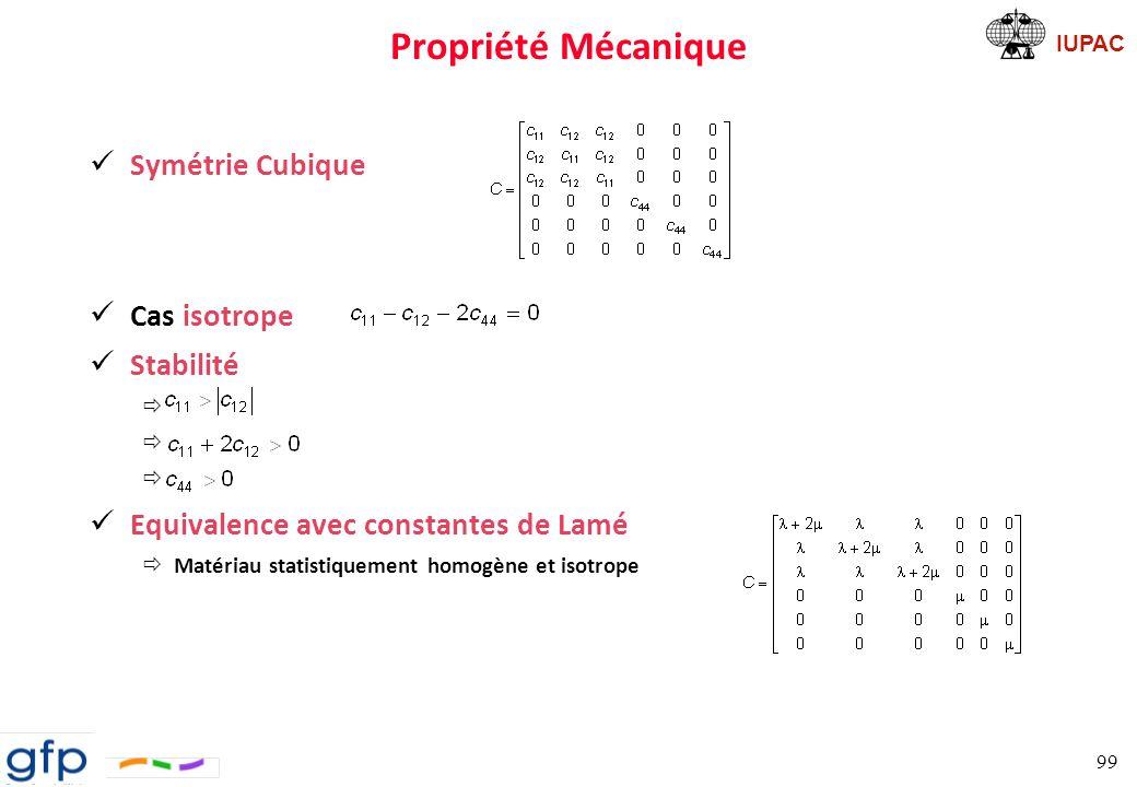 Propriété Mécanique Symétrie Cubique Cas isotrope Stabilité