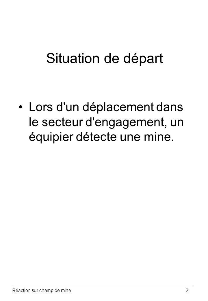 Situation de départ Lors d un déplacement dans le secteur d engagement, un équipier détecte une mine.