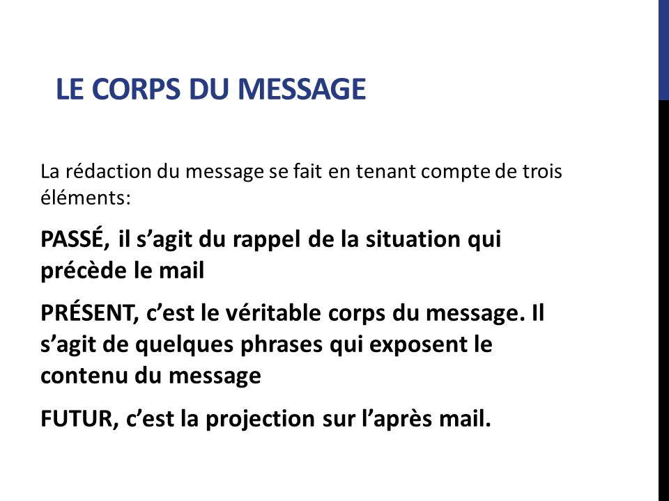 LE CORPS DU MESSAGE La rédaction du message se fait en tenant compte de trois éléments: