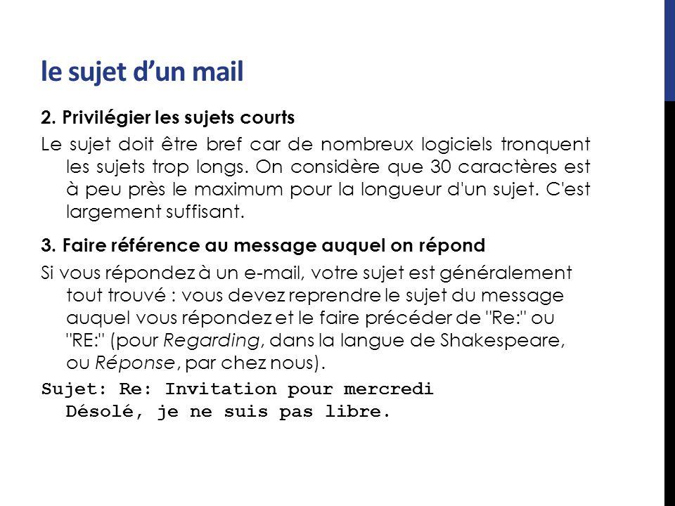 le sujet d'un mail