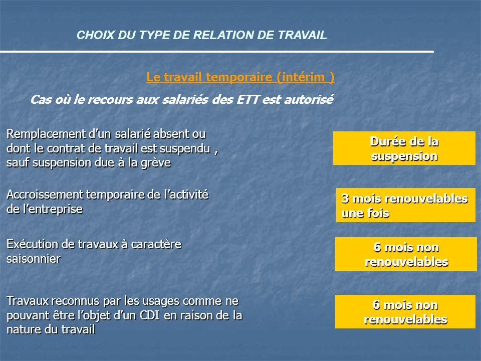 CHOIX DU TYPE DE RELATION DE TRAVAIL