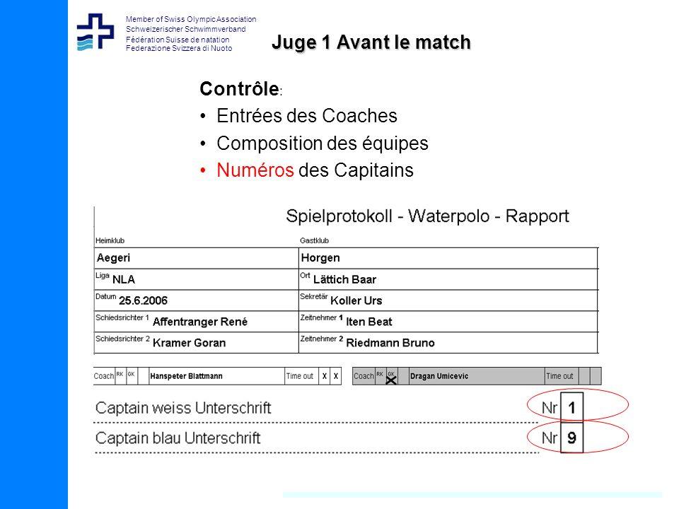 Juge 1 Avant le match Contrôle: Entrées des Coaches Composition des équipes Numéros des Capitains