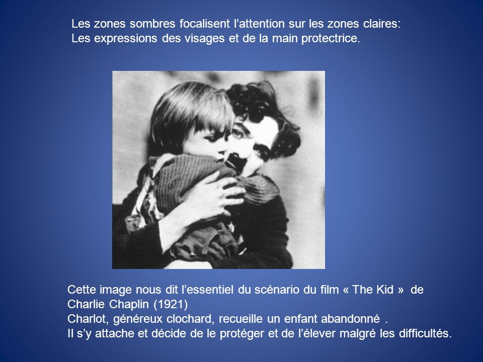 Les zones sombres focalisent l'attention sur les zones claires: