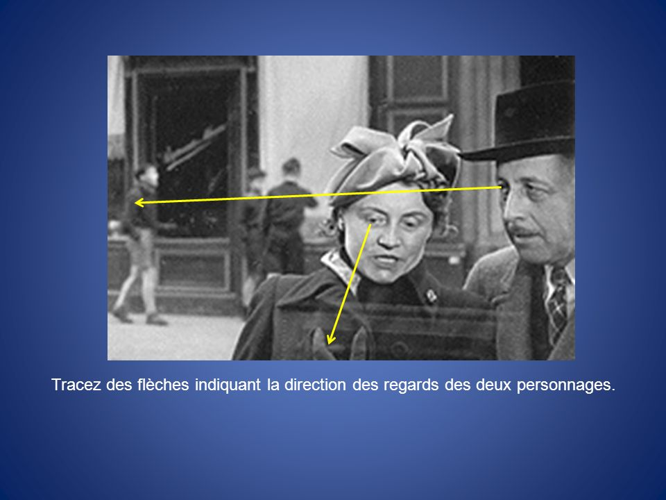 Tracez des flèches indiquant la direction des regards des deux personnages.