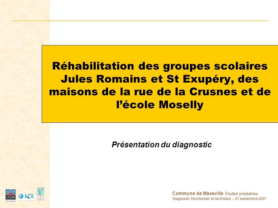 Réhabilitation des groupes scolaires Jules Romains et St Exupéry, des maisons de la rue de la Crusnes et de l'école Moselly Présentation du diagnostic