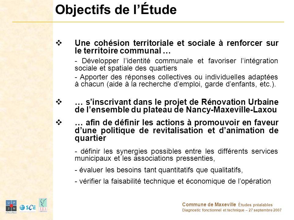 Objectifs de l'Étude Une cohésion territoriale et sociale à renforcer sur le territoire communal …