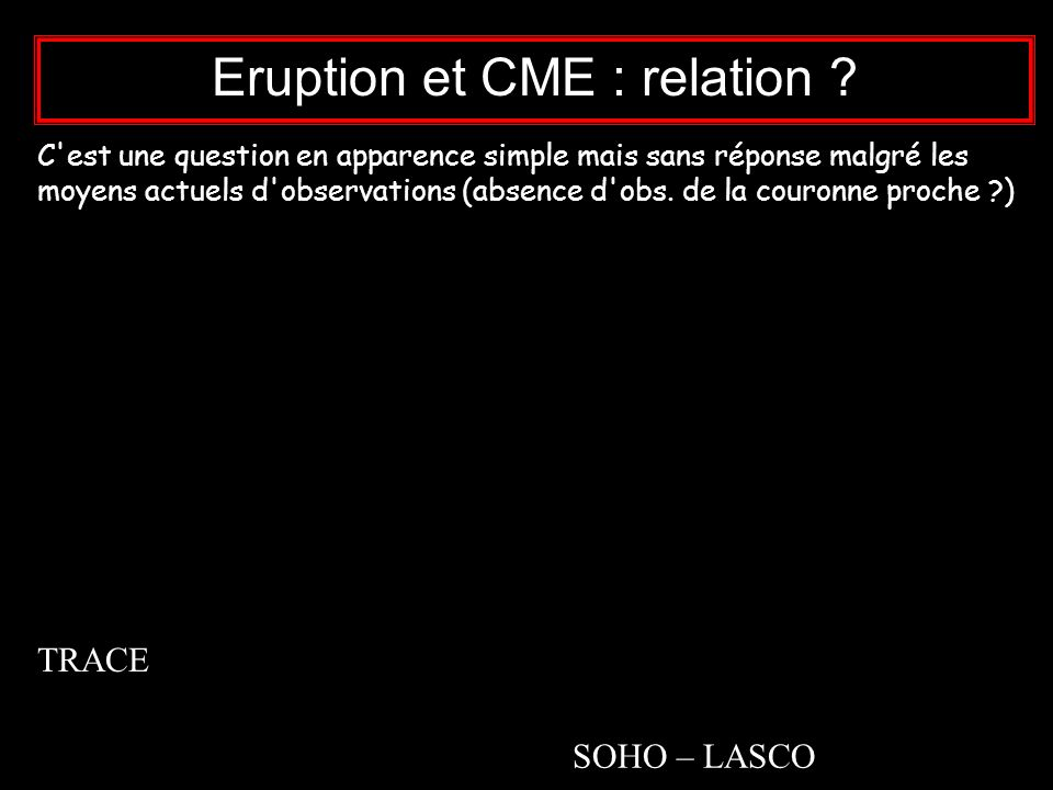 Eruption et CME : relation