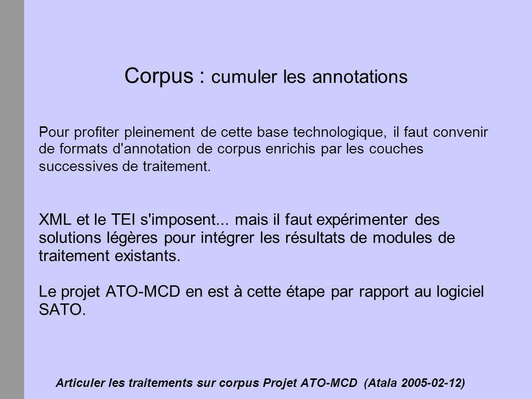 Articuler les traitements sur corpus Projet ATO-MCD (Atala 2005-02-12)