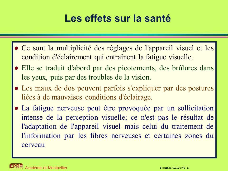 Les effets sur la santé Ce sont la multiplicité des réglages de l appareil visuel et les condition d éclairement qui entraînent la fatigue visuelle.