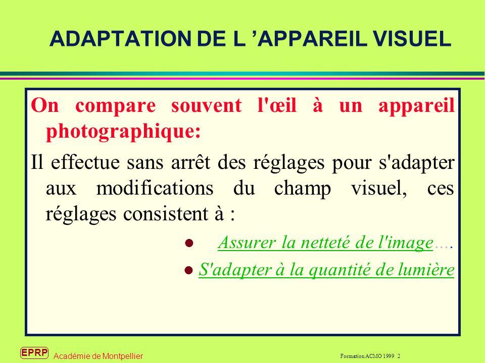 ADAPTATION DE L 'APPAREIL VISUEL