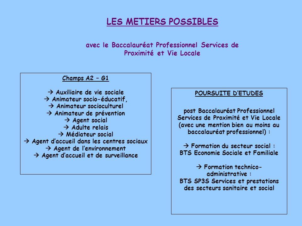 avec le Baccalauréat Professionnel Services de Proximité et Vie Locale