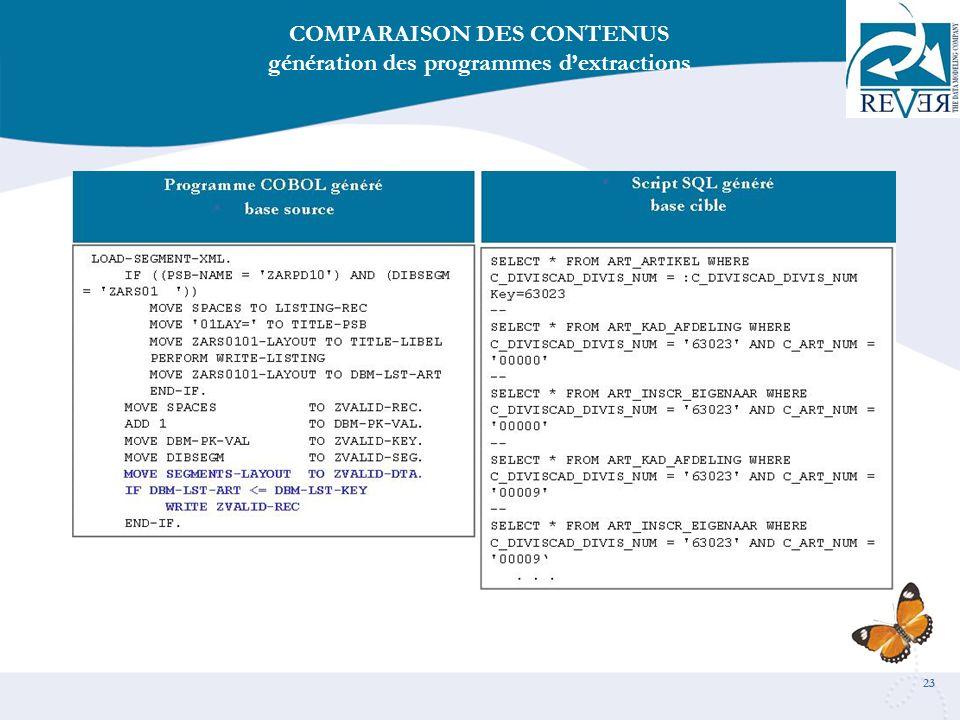 COMPARAISON DES CONTENUS génération des programmes d'extractions
