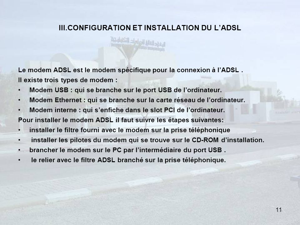 III.CONFIGURATION ET INSTALLATION DU L'ADSL