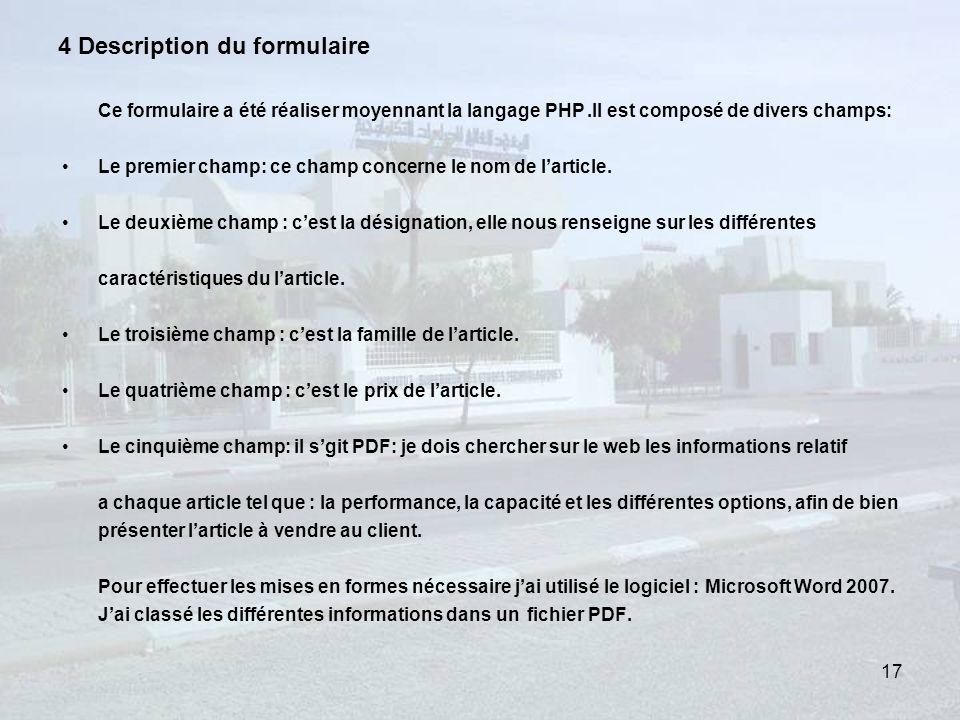 4 Description du formulaire