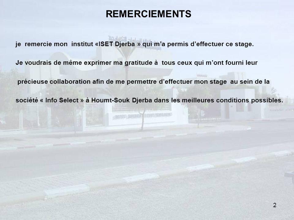 REMERCIEMENTS je remercie mon institut «ISET Djerba » qui m'a permis d'effectuer ce stage.
