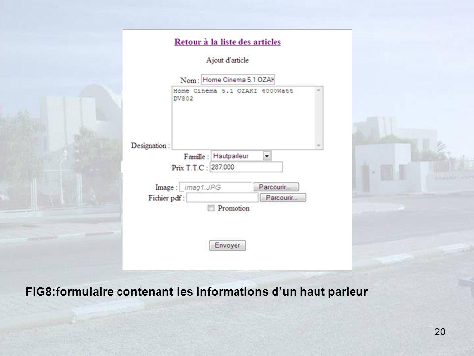 FIG8:formulaire contenant les informations d'un haut parleur