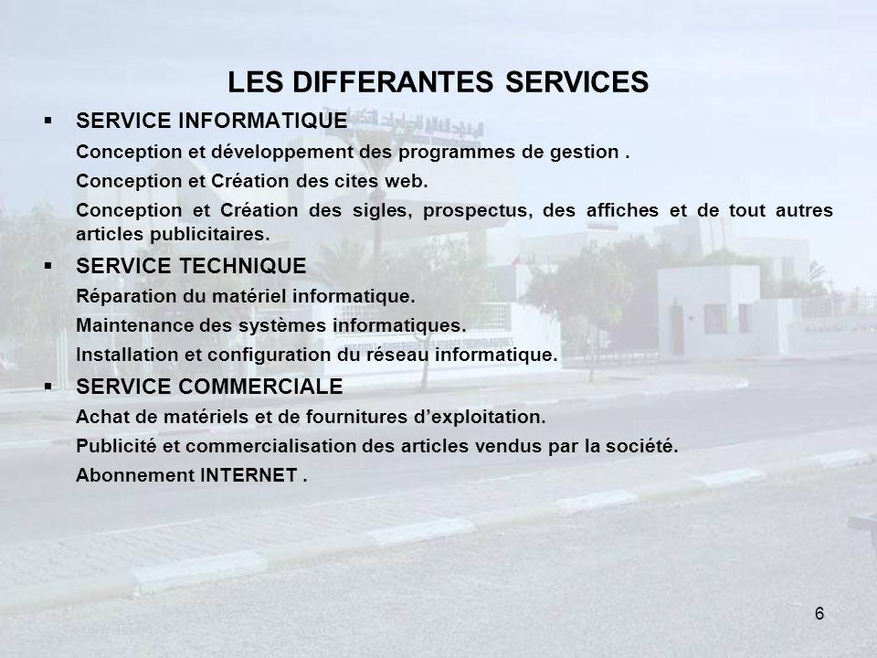 LES DIFFERANTES SERVICES