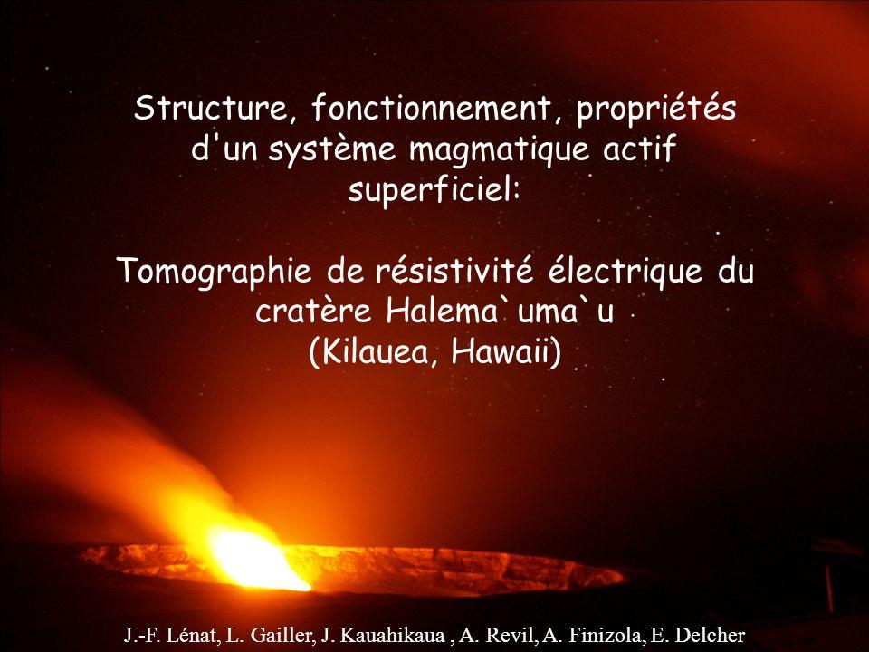 Structure, fonctionnement, propriétés d un système magmatique actif superficiel: Tomographie de résistivité électrique du cratère Halema`uma`u (Kilauea, Hawaii)