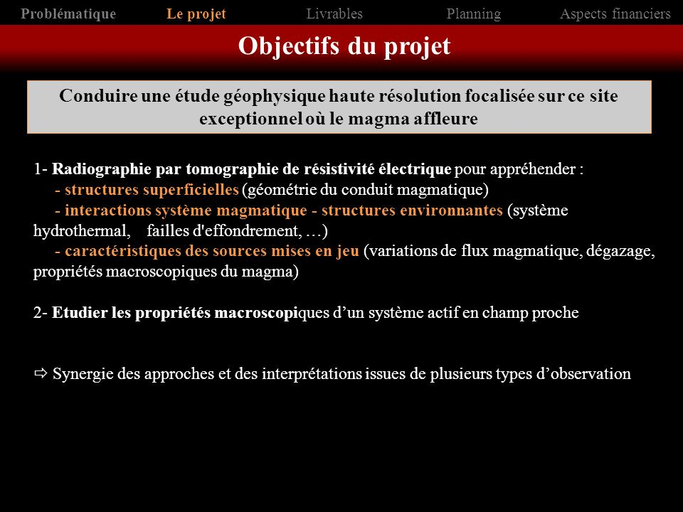 Problématique Le projet. Livrables. Planning. Aspects financiers. Objectifs du projet.