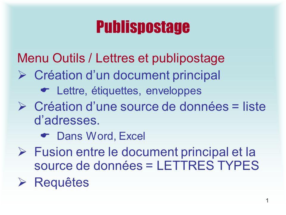 Publispostage Menu Outils / Lettres et publipostage