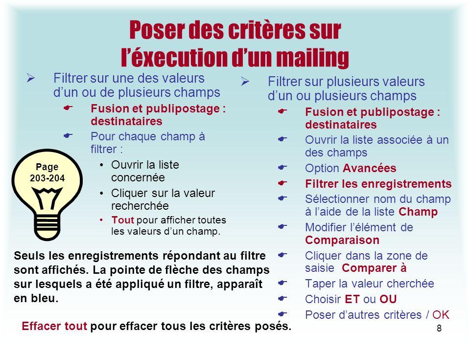 Poser des critères sur l'éxecution d'un mailing