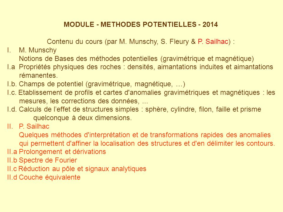 MODULE - METHODES POTENTIELLES - 2014