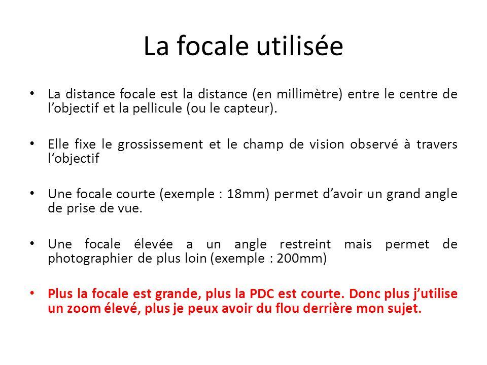 La focale utilisée La distance focale est la distance (en millimètre) entre le centre de l'objectif et la pellicule (ou le capteur).