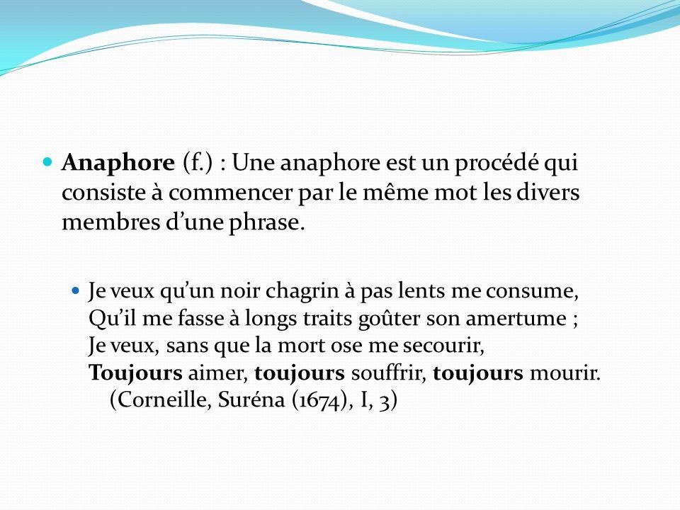 Anaphore (f.) : Une anaphore est un procédé qui consiste à commencer par le même mot les divers membres d'une phrase.