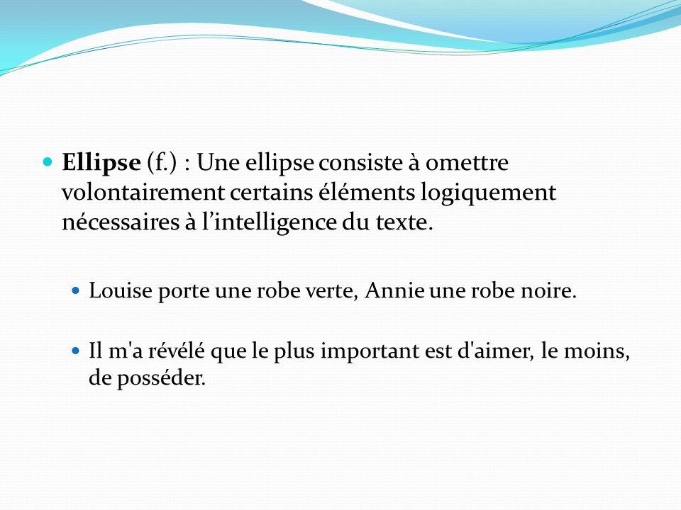 Ellipse (f.) : Une ellipse consiste à omettre volontairement certains éléments logiquement nécessaires à l'intelligence du texte.