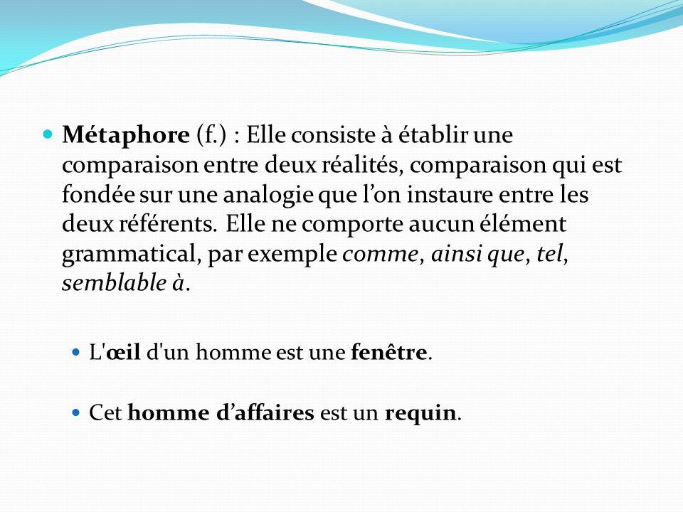 Métaphore (f.) : Elle consiste à établir une comparaison entre deux réalités, comparaison qui est fondée sur une analogie que l'on instaure entre les deux référents. Elle ne comporte aucun élément grammatical, par exemple comme, ainsi que, tel, semblable à.