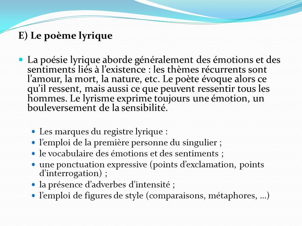 E) Le poème lyrique