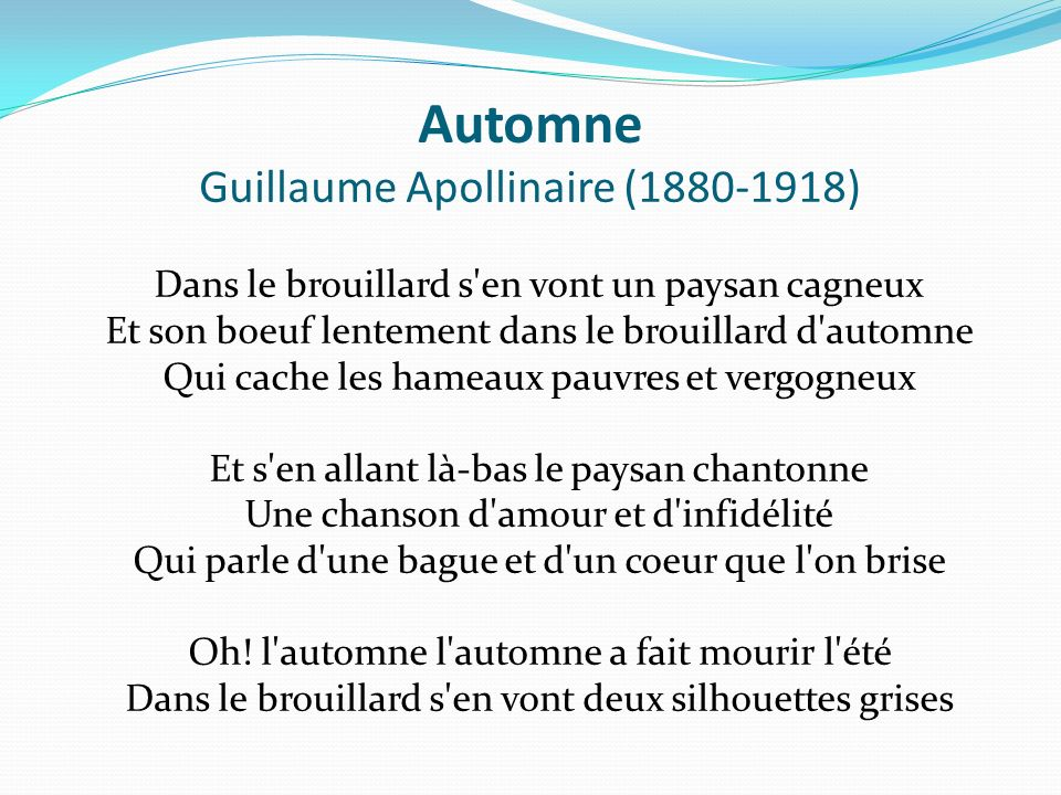 Automne Guillaume Apollinaire (1880-1918)