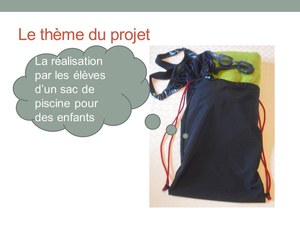 Le thème du projet La réalisation par les élèves d'un sac de piscine pour des enfants