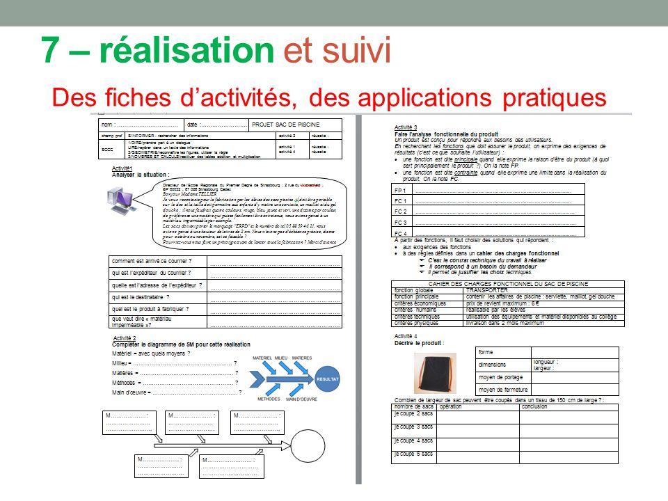 7 – réalisation et suivi Des fiches d'activités, des applications pratiques