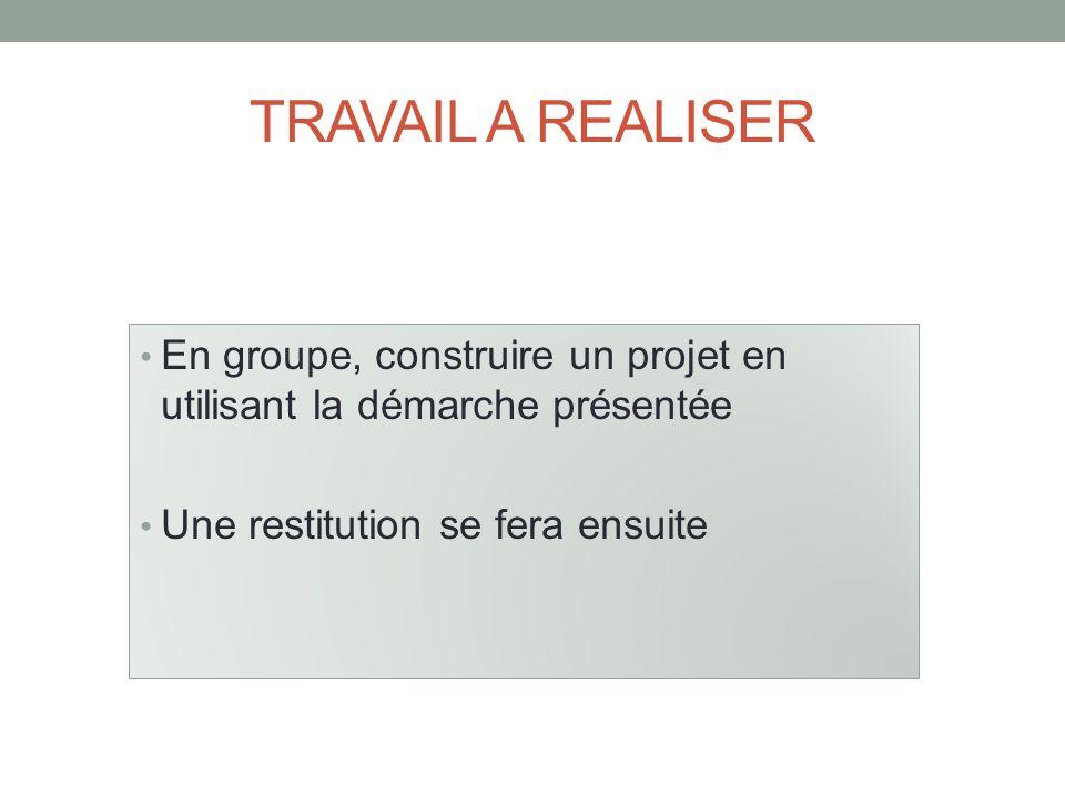 TRAVAIL A REALISER En groupe, construire un projet en utilisant la démarche présentée.